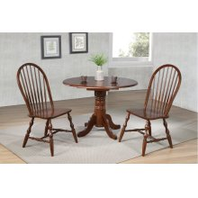 "DLU-ADW4242-C30-CT3PC  3 Piece 42"" Round Drop Leaf Dining Set  Chestnut  Spindleback Chairs"