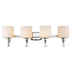Evette 4 Light Bath Vanity in Chrome with Opal Glass