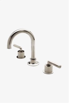 Henry Gooseneck Three Hole Deck Mounted Lavatory Faucet with Coin Edge Cylinders and Metal Lever Handles STYLE: HNLS33
