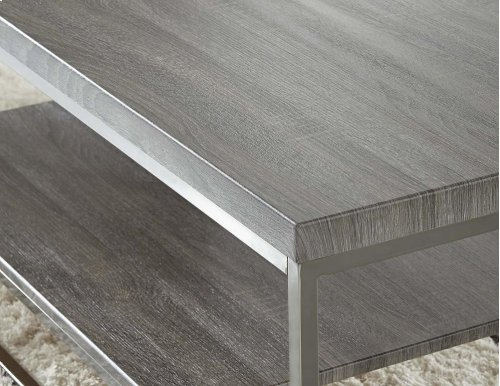 "Lucia End Table, Gray/ Black Nickle, 24""x24""x23"""