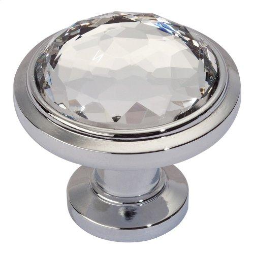 Legacy Crystal Round Knob 1 5/16 Inch - Polished Chrome