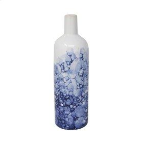 """Ceramic 12"""" Bottle Vase, White/ Blue"""