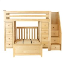 All in One Staircase Loft Bed Storage Storage   Twin Bed Natural