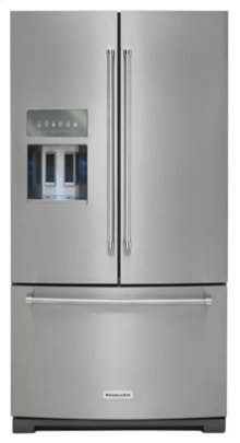 26.8 cu. ft. 36-Inch Width Standard Depth French Door Refrigerator with Exterior Ice and Water Platinum Interior - Stainless Steel