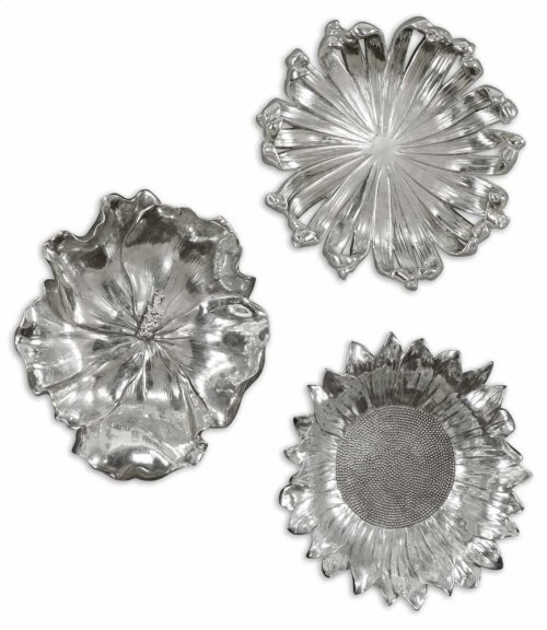 Silver Flowers Wall Decor, S/3
