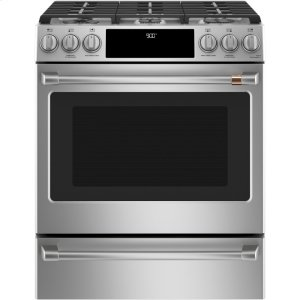 "Café 30"" Slide-In Front Control Dual-Fuel Convection Range with Warming Drawer Product Image"