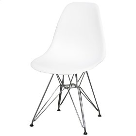 Allen Molded PP Chair Chrome Wire Legs, White
