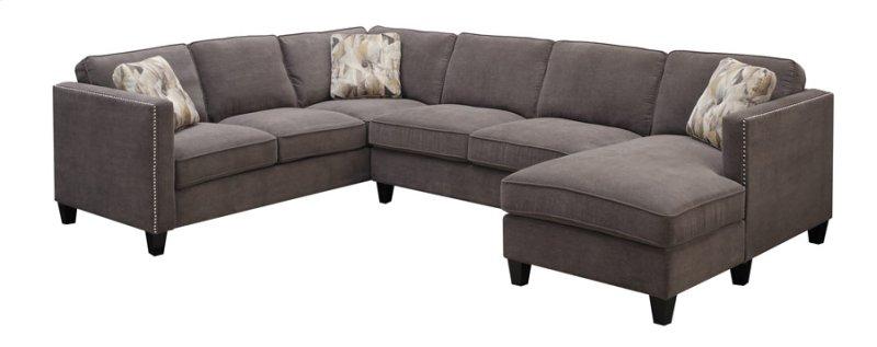3pc U Sectional Lsf Corner Sofa Armless Love Rsf Chaise Charcoal W