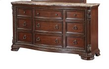 Emerald Home Riviera 9 Drawer Dresser With Marble Top Brown Cherry B621-01