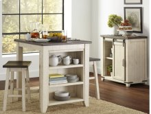 """Madison County 32"""" Barn Door Accent Cabinet - Vintage White"""