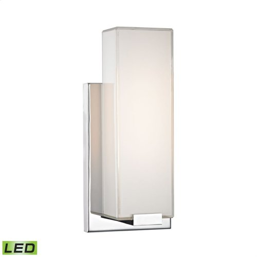 1 Light Wall Sconce in Chrome and Paint White Glass