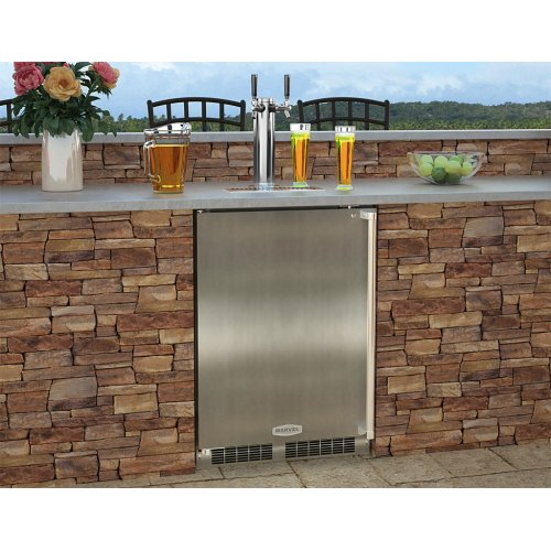 """Outdoor 24"""" Single Tap Built In Beer Dispenser with Stainless Steel Door - Solid Stainless Steel Door With Lock - Right Hinge"""