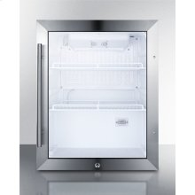 Commercially Approved Countertop Beverage Cooler With Reversible Glass Door, Black Cabinet, and Front Lock