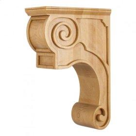 "3-3/8"" x 8"" x 11-3/4"" Hand-Carved Wood Corbel with Plain Design Species: Alder"