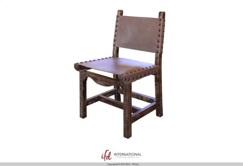 Wooden chair with Faux leather on seat and back**