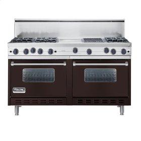 "Chocolate 60"" Open Burner Commercial Depth Range - VGRC (60"" wide, six burners 12"" wide griddle/simmer plate 12"" wide char-grill)"