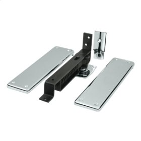 Spring Hinge, Double Action w/ Solid Brass Cover Plates - Polished Chrome