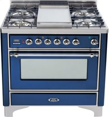 Midnight Blue with Chrome trim - Majestic 36-inch Range with 6-Burner