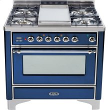 Midnight Blue with Chrome trim - Majestic 36-inch Range with Griddle