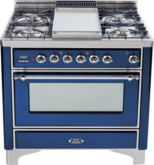 Midnight Blue with Chrome trim - Majestic 36-inch Range with 6-Burner