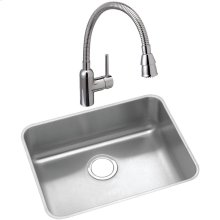 "Elkay Lustertone Classic Stainless Steel 21-1/2"" x 18-1/2"" x 10"", Single Bowl Undermount Sink and Faucet Kit"