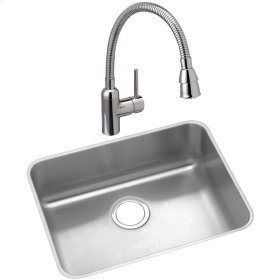 """Elkay Lustertone Classic Stainless Steel 21-1/2"""" x 18-1/2"""" x 10"""", Single Bowl Undermount Sink and Faucet Kit"""