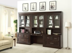 2pc Library Glass Hutch & Desk