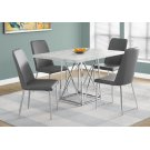 """DINING TABLE - 36""""X 48"""" / GREY CEMENT / CHROME METAL Product Image"""