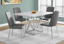 "DINING TABLE - 36""X 48"" / GREY CEMENT / CHROME METAL"
