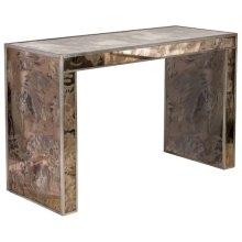 Reverse Antique Mirrored Console With Champagne Silver Leafed Edges.