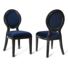 Cerused Oak Navy Chair-Set of 2