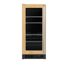 "15"" Custom Panel Beverage Center - DFUR (Left Hinge Clear Door, Black interior)"