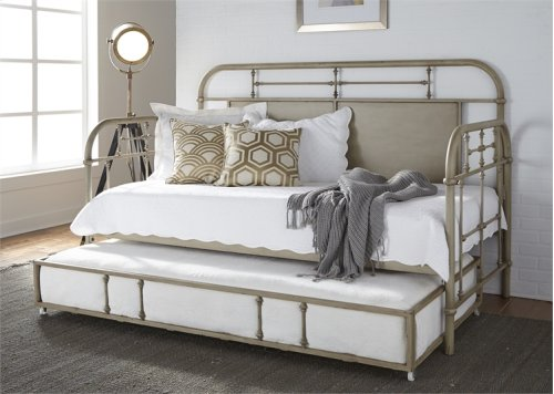 Twin Metal Day Bed w Trundle - Vintage White