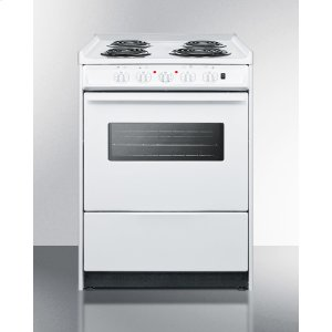 """Summit24"""" Wide Slide-in Electric Range In White With Oven Window, Light, and Lower Storage Compartment; Replaces Wem619rw/wem610wrt"""