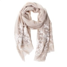 Tan Floral Embroidered Scarf.
