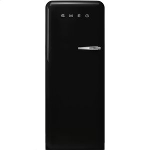 "SmegApprox 24"" 50'S Style Refrigerator with ice compartment, Black, Left hand hinge"