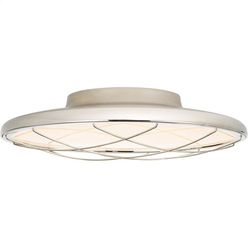Visual Comfort PB4001PN Peter Bristol Dot LED 14 inch Polished Nickel Flush Mount Ceiling Light, Caged
