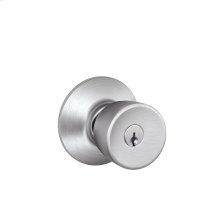 Bell Knob Keyed Entry Lock - Satin Chrome