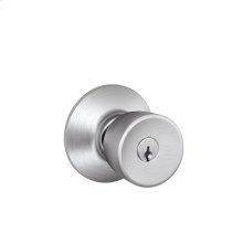 Bell Knob Keyed Entry Lock - Satin Chrome