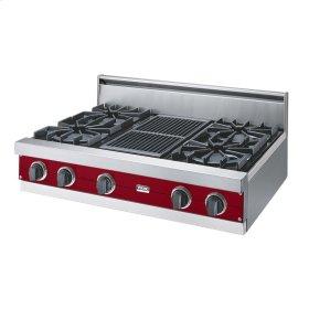 "Apple Red 36"" Open Burner Rangetop - VGRT (36"" wide, four burners 12"" wide char-grill)"