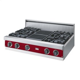"Apple Red 36"" Open Burner Rangetop - VGRT (36"" wide, four burners 12"" wide char-grill)"