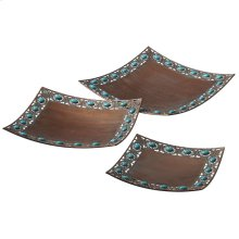 Copper and Turquoise Tray set/3