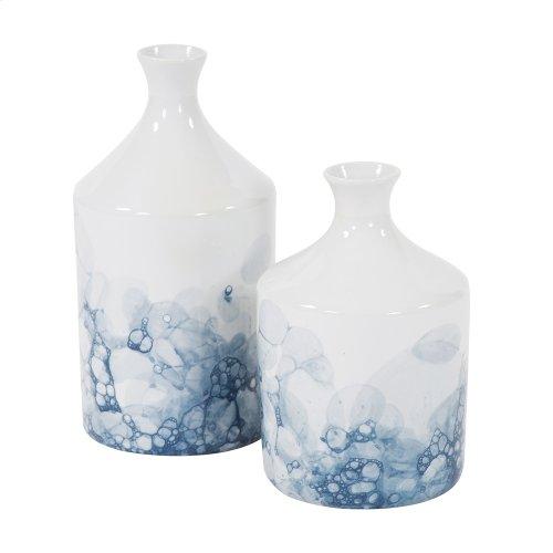 Blue and White Porcelain Bottle Vase, Large