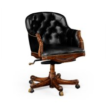 Chesterfield Style Mahogany Office Chair, Upholstered in Black Leather