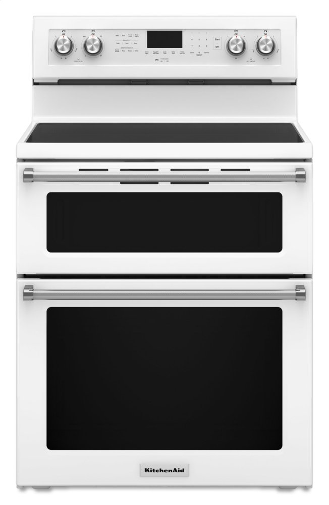 30 Inch 5 Burner Electric Double Oven Convection Range   White