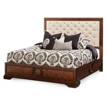 Queen Panel Bed W/fabric Tufted Headboard