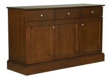 60 Inch 3 Drawer/3 Door Buffet With Solid Maple Rectangular Wood Top, Pewter Knobs, and 1 Fixed Half Shelf