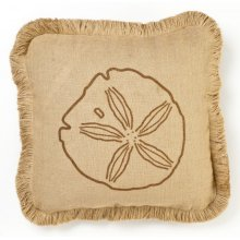 Brown Sand Dollar Burlap Pillow