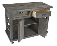 Kitchen Island w/ Doors - Distressed Dark Gray Finish Product Image