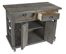 Kitchen Island w/ Doors - Distressed Dark Gray Finish